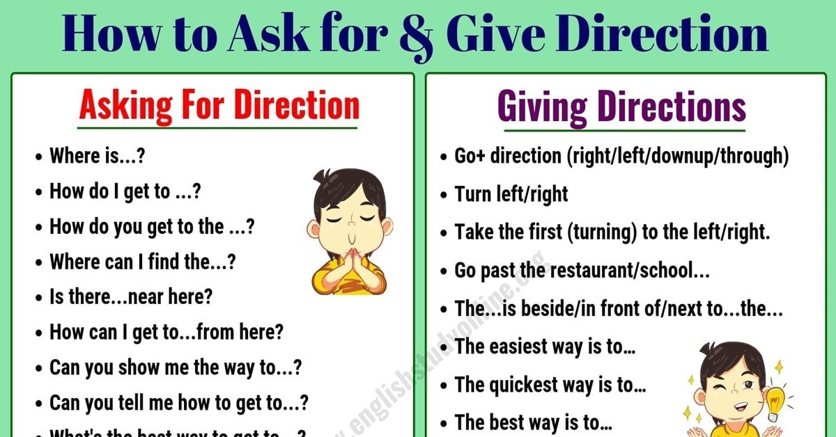 Simple Ways of Asking For and Giving Directions in English 3