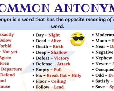 Commonly Used Antonyms Word List in English 2