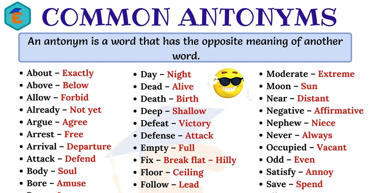 Commonly Used Antonyms Word List in English 1