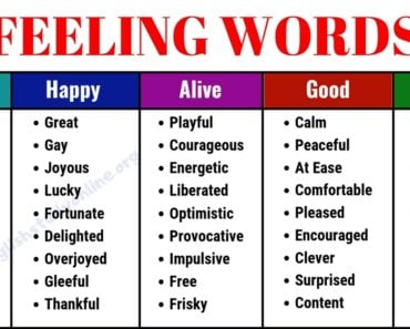Useful List of 100+ Feeling Words | Common Feeling Adjectives 6