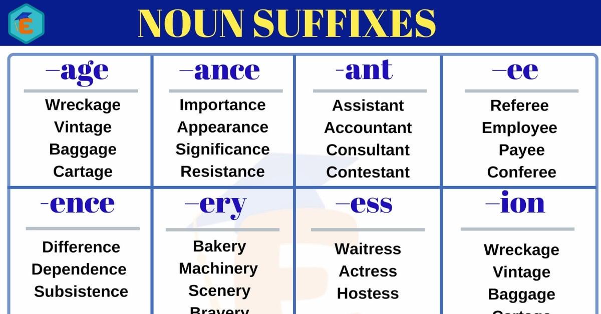 Noun Suffixes: A Huge List of Popular Noun Suffixes in English 2