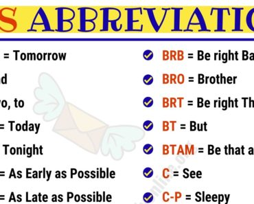 SMS Abbreviations : List of 100 Most Common Abbreviations in English 3