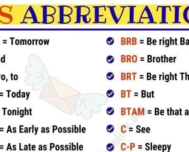 SMS Abbreviations : List of 100 Most Common Abbreviations in English 5
