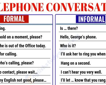 Telephone Conversation: Most Commonly Used Phrases for the Phone Conversation 7