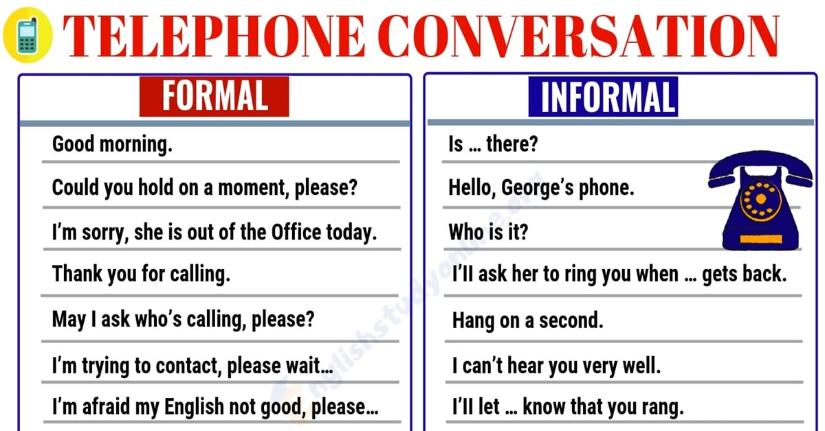 Telephone Conversation: Most Commonly Used Phrases for the Phone Conversation 1