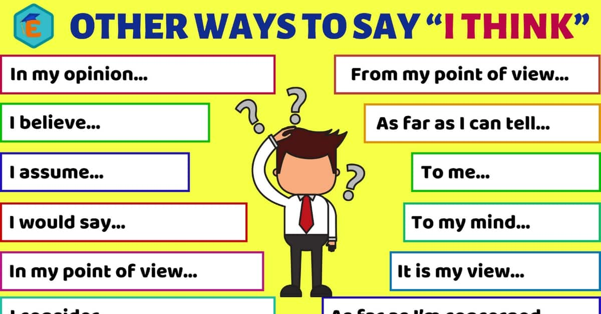 20 Other Ways to Say I THINK for ESL Learners 1
