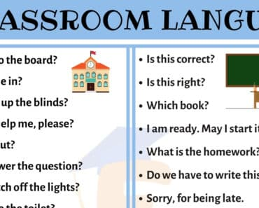 Popular Classroom Language for ESL Students in English 4