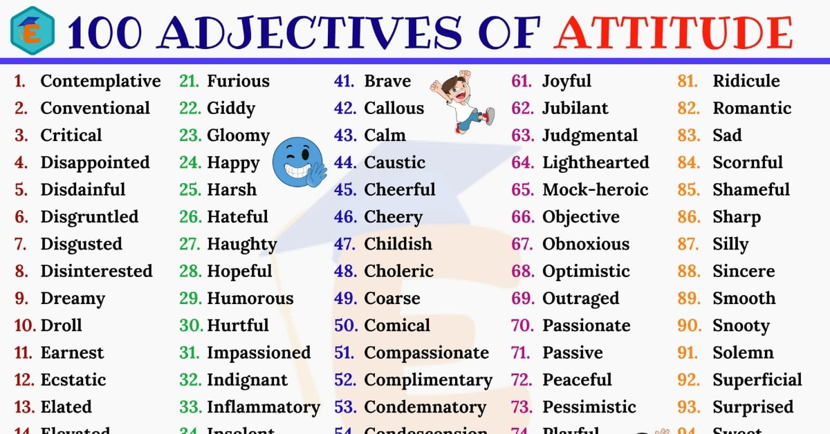 Adjectives of Attitude: List of 100 Popular Adjectives about Attitude -  English Study Online