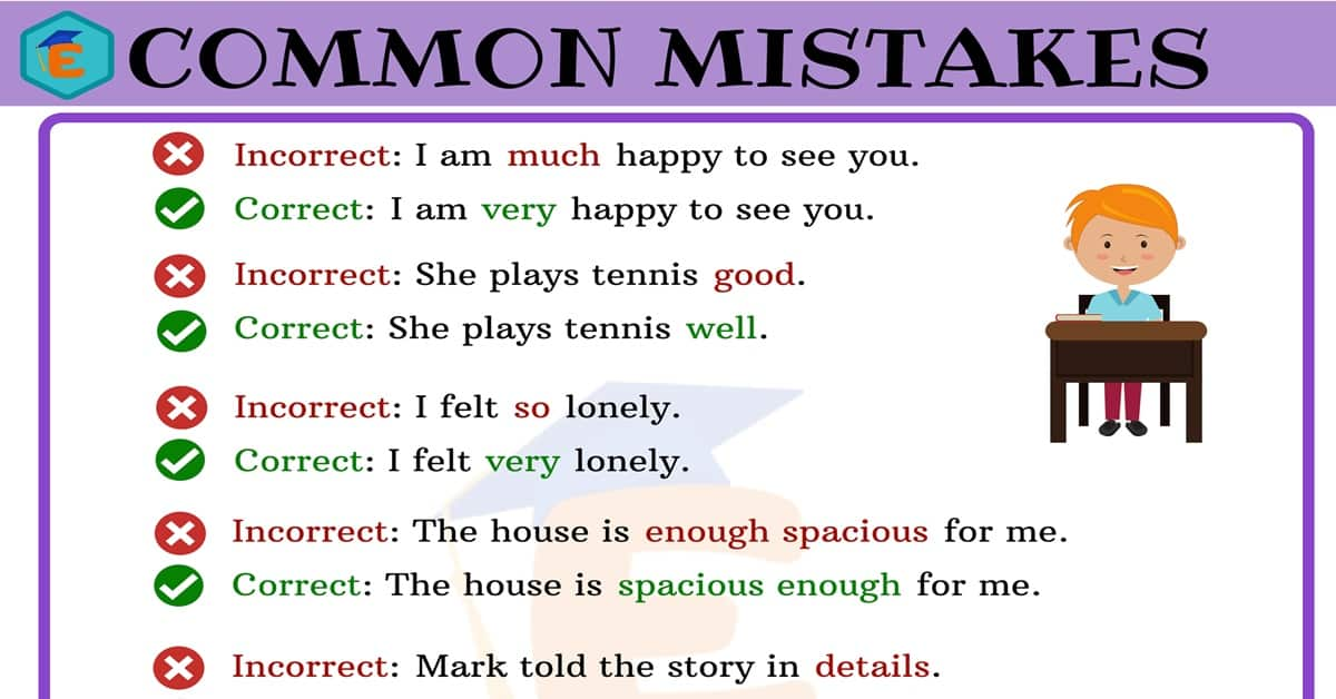 Common Mistakes in English for ESL Learners with Useful Examples 9