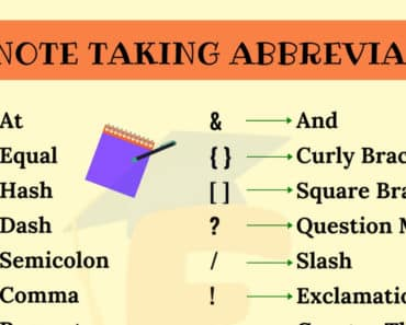 Note Taking Abbreviations | List of Important Abbreviations for Note Taking 5