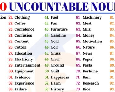 100 Useful Uncountable Nouns in English for ESL Learners 7