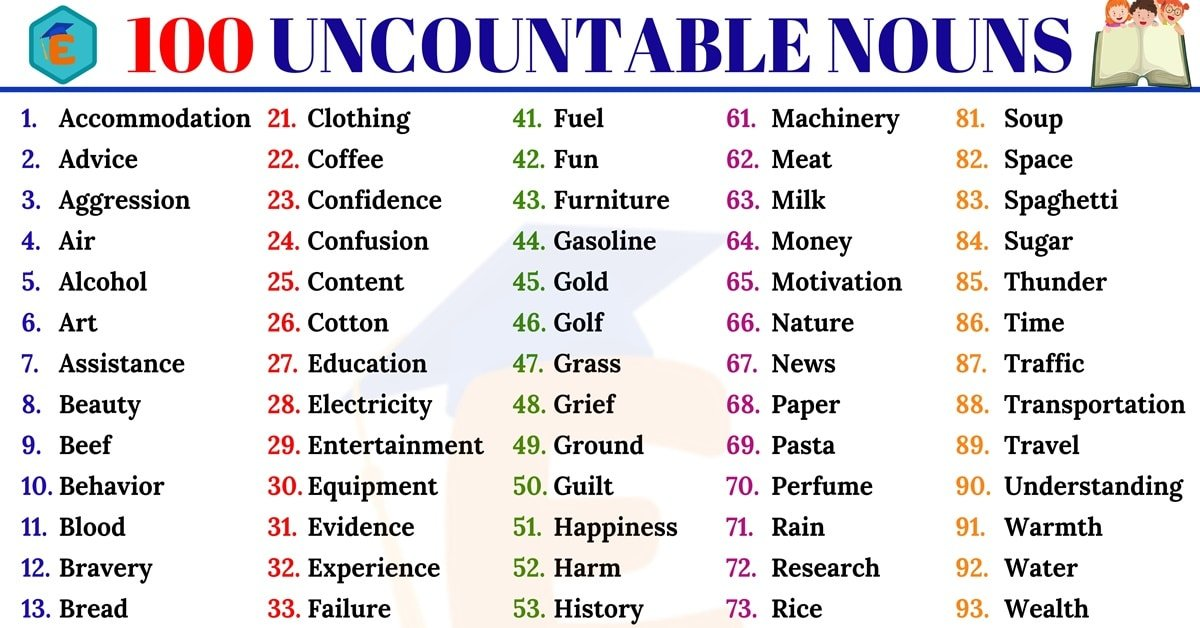 100 Useful Uncountable Nouns in English for ESL Learners 4