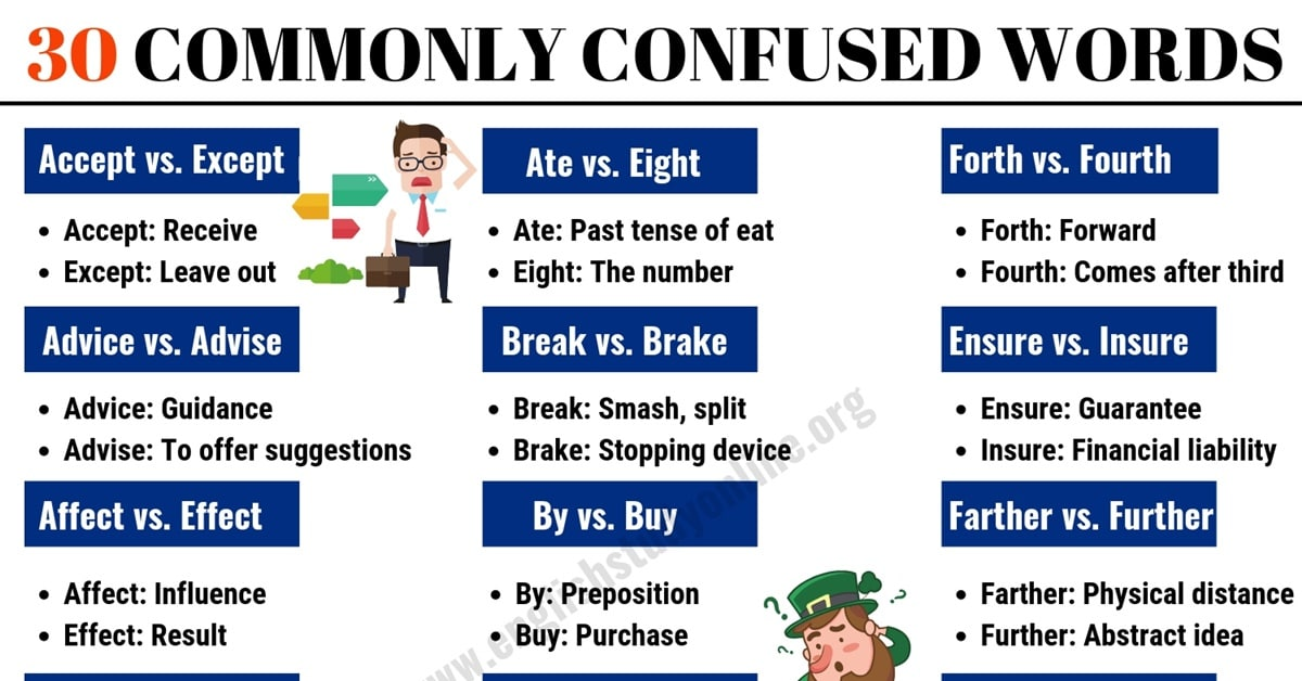 30 Commonly Confused Words in English for ESL Learners 1