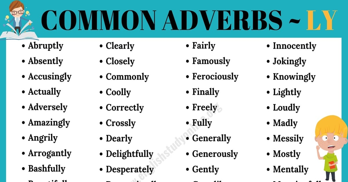 "Adverbs List | List of 95+ Important Adverbs with ""Ly"" 4"