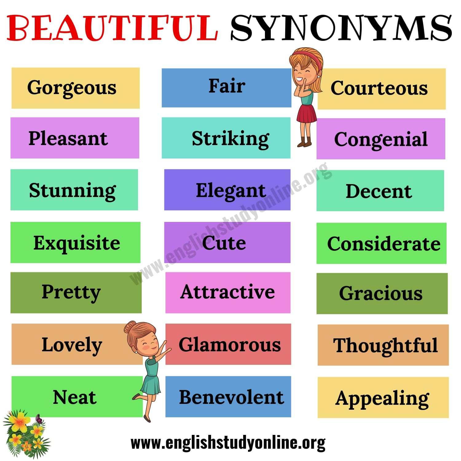 Beautiful Synonyms | List of 30+ Helpful Synonyms for