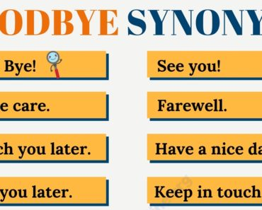 GOODBYE Synonyms: List of 20 Most Common Synonyms for Goodbye 5
