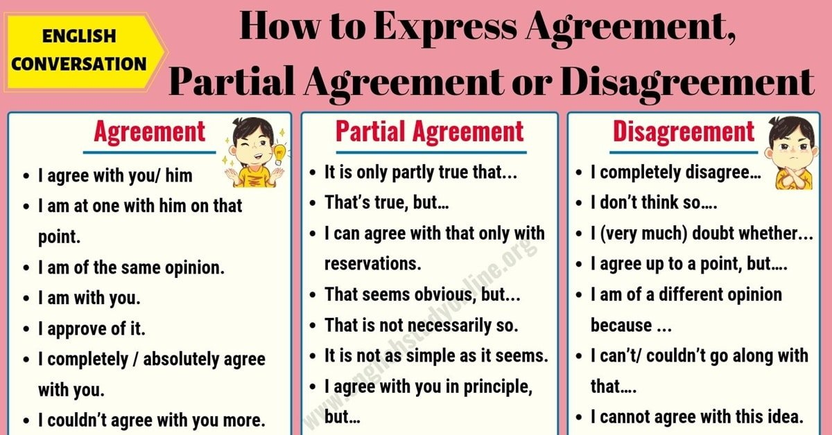 How to Express Agreement, Partial Agreement and Disagreement in English 9
