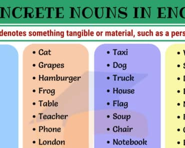 Concrete Nouns | List of 60 Important Concrete Nouns in English 3