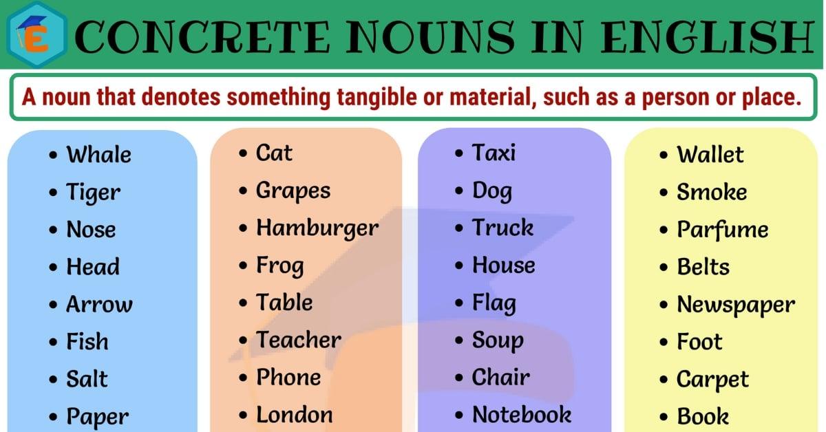Concrete Nouns | List of 60 Important Concrete Nouns in English 8