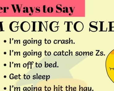 Other Ways to Say I'M GOING TO SLEEP in English 2