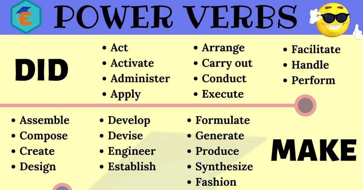 Power Verbs List In English You Should Know English