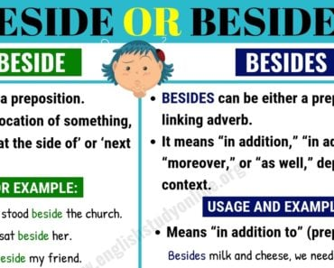 Beside or Besides | What is The Difference in English? 5