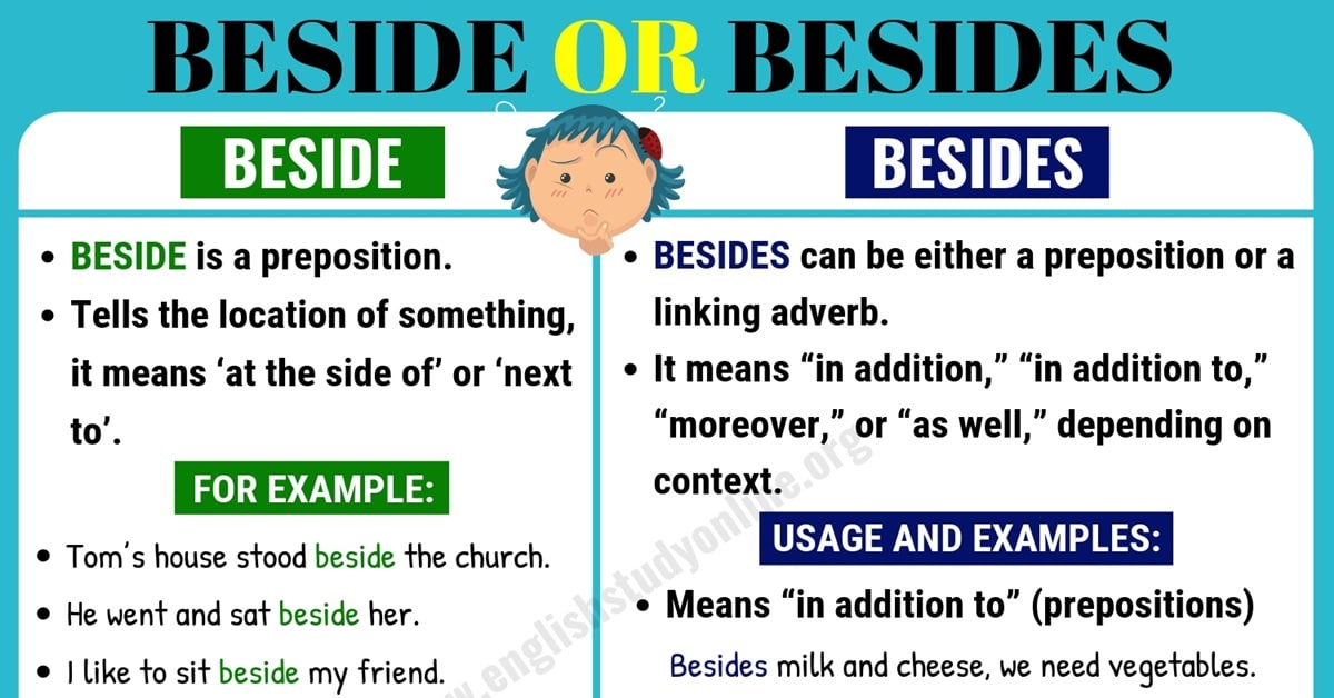 Beside or Besides | What is The Difference in English? 1