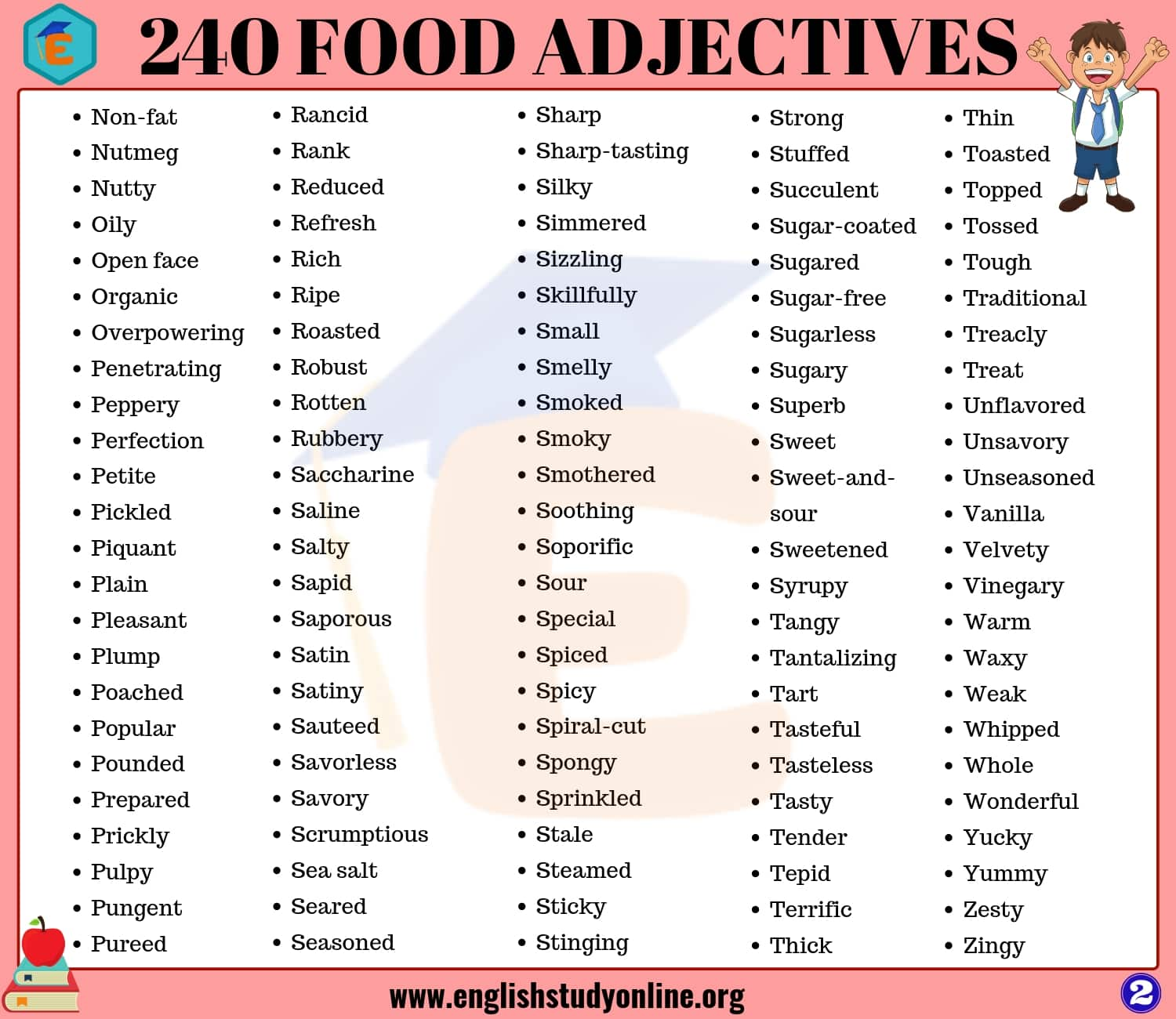 food adjectives