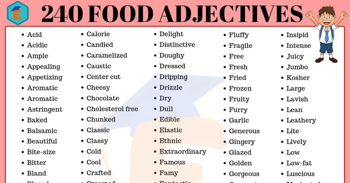 240 Food Adjectives – Adjectives to Describe Food in English 1