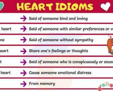Heart Idioms | 55+ Important Idioms about Heart for ESL Students 3