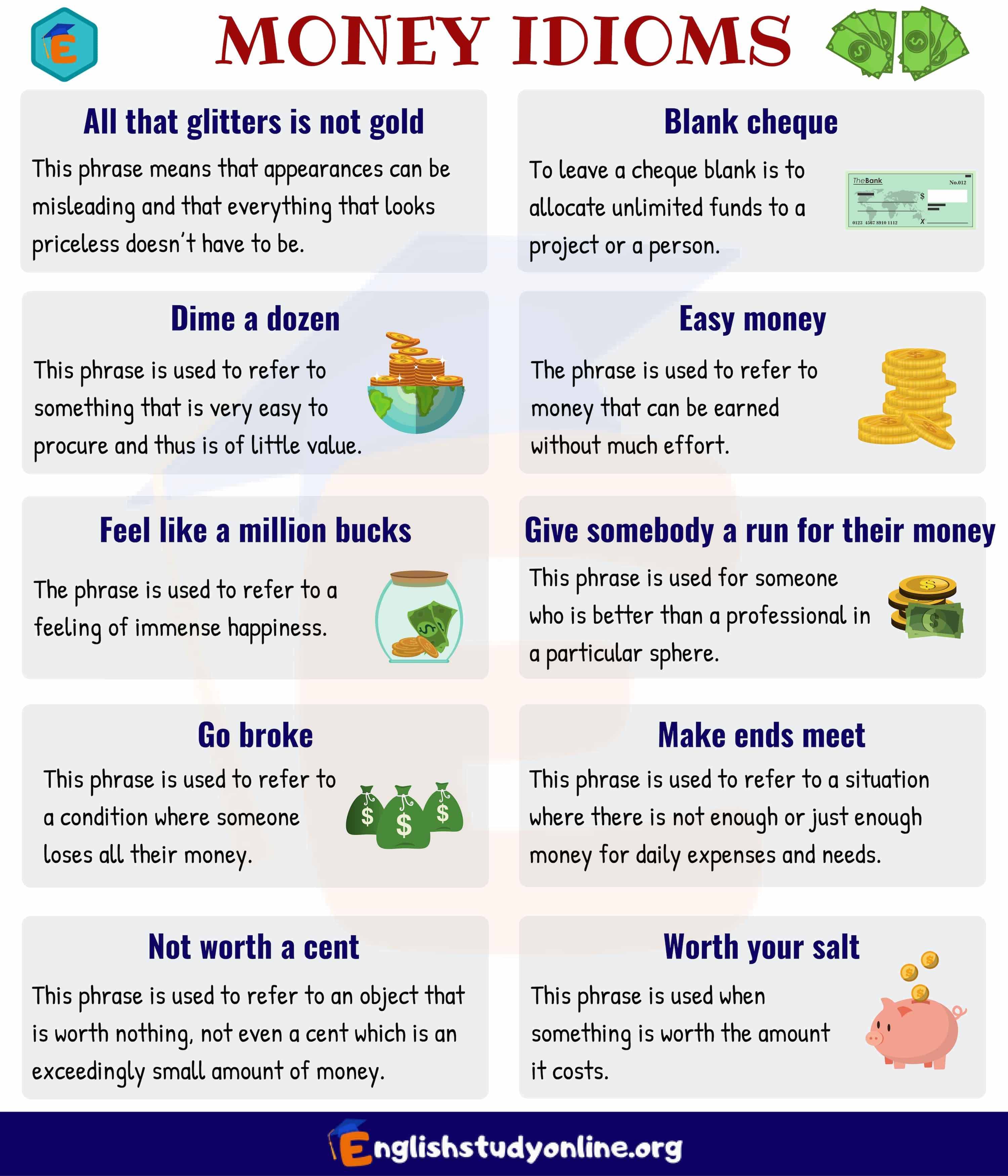 10 Useful Money Idioms with Meaning and Examples - English