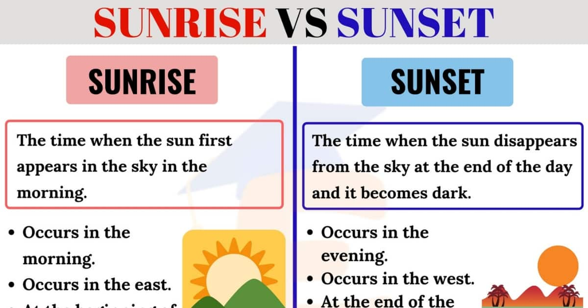 Sunrise vs Sunset: What's the Difference in English? 1