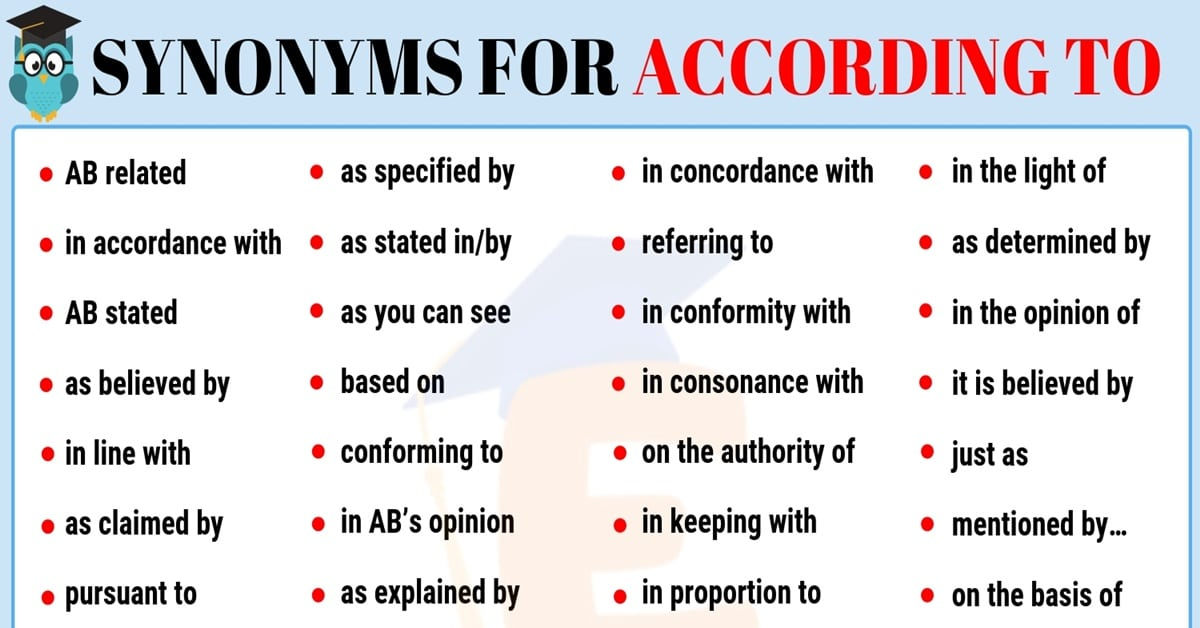 According to Synonym | List of 35+ Popular Synonyms for According to 1