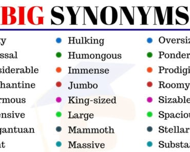BIG Synonym: Useful List of 35+Synonyms for Big in English 5