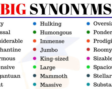 BIG Synonym: Useful List of 35+Synonyms for Big in English 7
