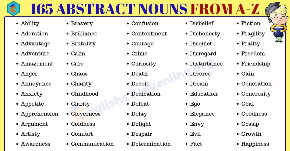 Abstract Nouns: List of 165 Important Abstract Nouns from A to Z 3