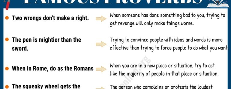 Proverbs In English For Students With Meanings