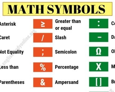 Math Symbols | List of 32 Important Mathematical Symbols in English 2
