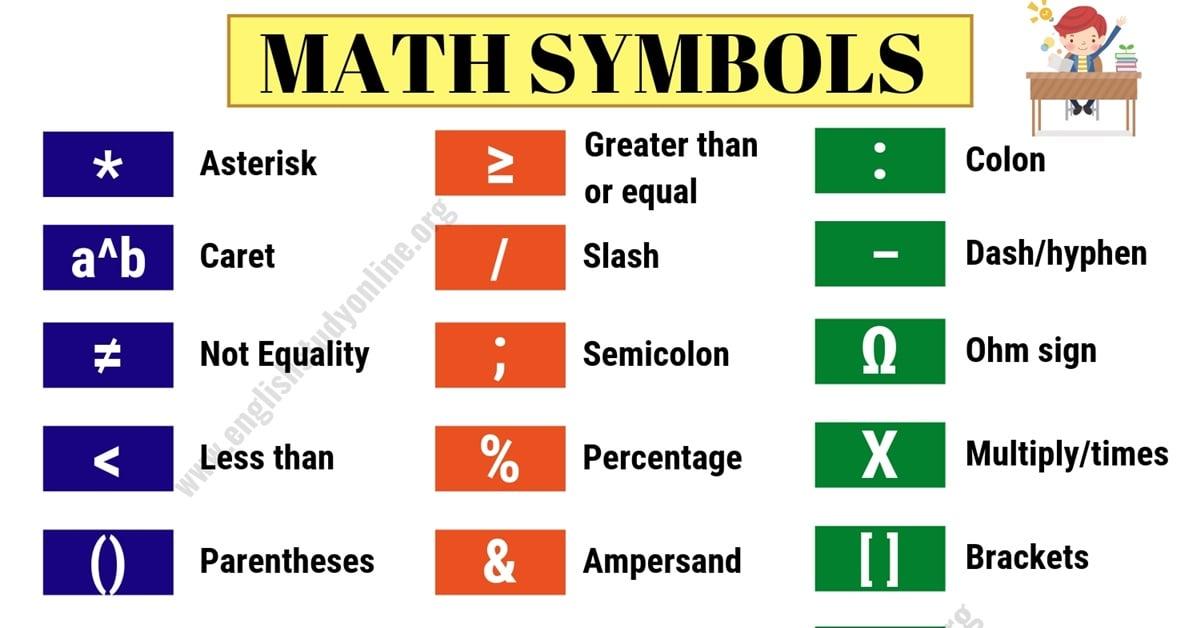 Math Symbols | List of 32 Important Mathematical Symbols in English 5