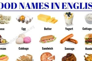Food Names: 30 Popular Food Vocabulary with ESL Picture in English 8