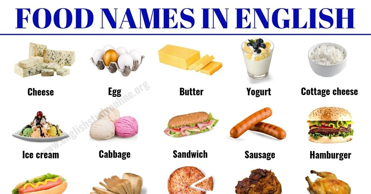 Food Names: 30 Popular Food Vocabulary with ESL Picture in English 1