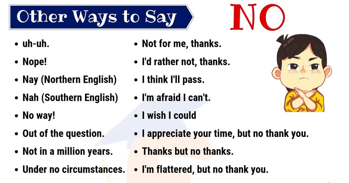 No Synonym | 60 Useful Ways to Say NO in English 1
