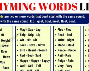 Rhyming Words | List of 70+ Interesting Words that Rhyme in English 2