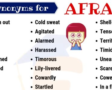 Afraid Synonym: List of 40 Helpful Synonyms for Afraid with Examples 2