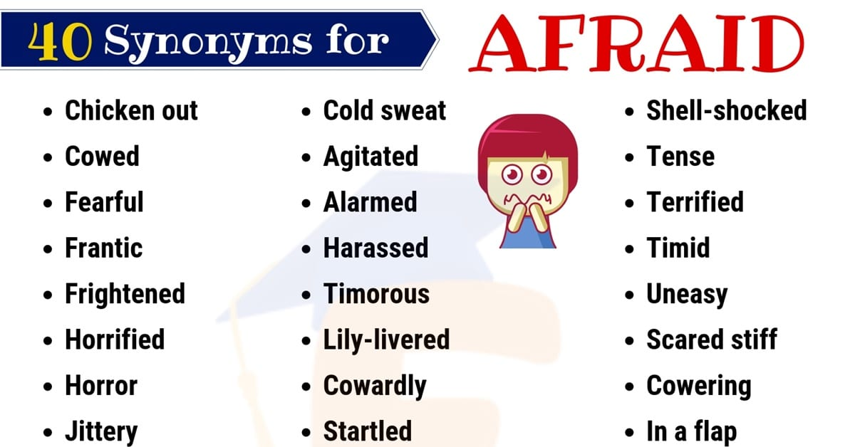 Afraid Synonym: List of 40 Helpful Synonyms for Afraid with Examples 1