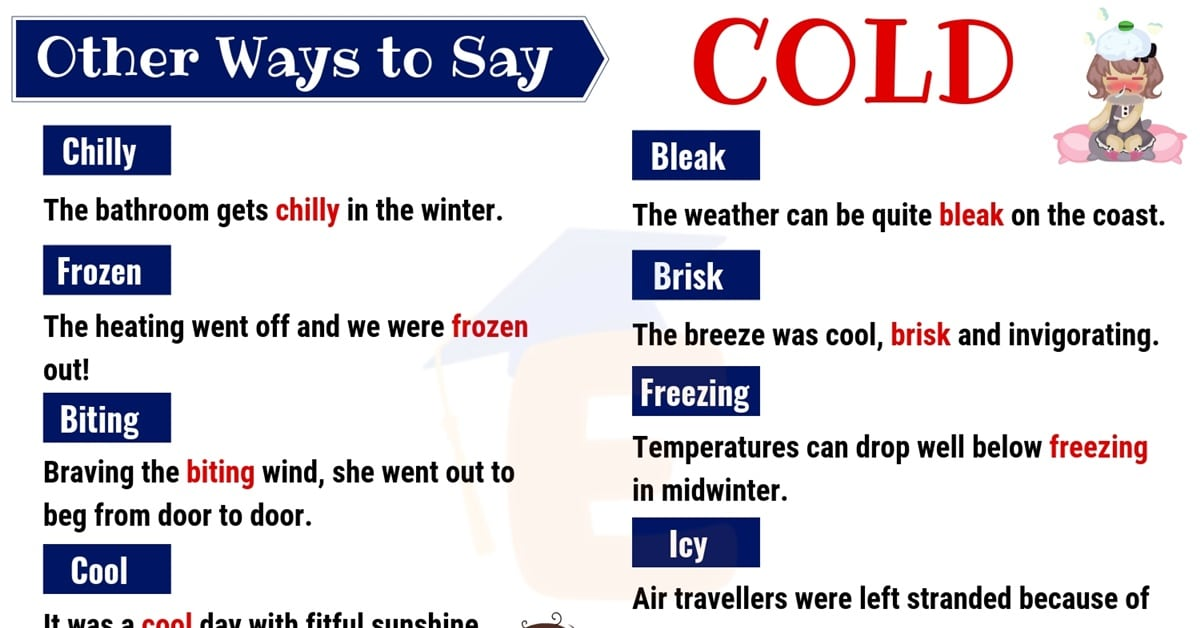 Cold Synonyms: List of 20 Useful Synonyms for COLD with Examples 1