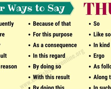 Thus Synonym | Useful List of 25+ Synonyms for THUS with Example Sentences 6