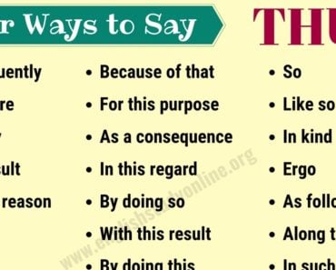 Thus Synonym | Useful List of 25+ Synonyms for THUS with Example Sentences 5