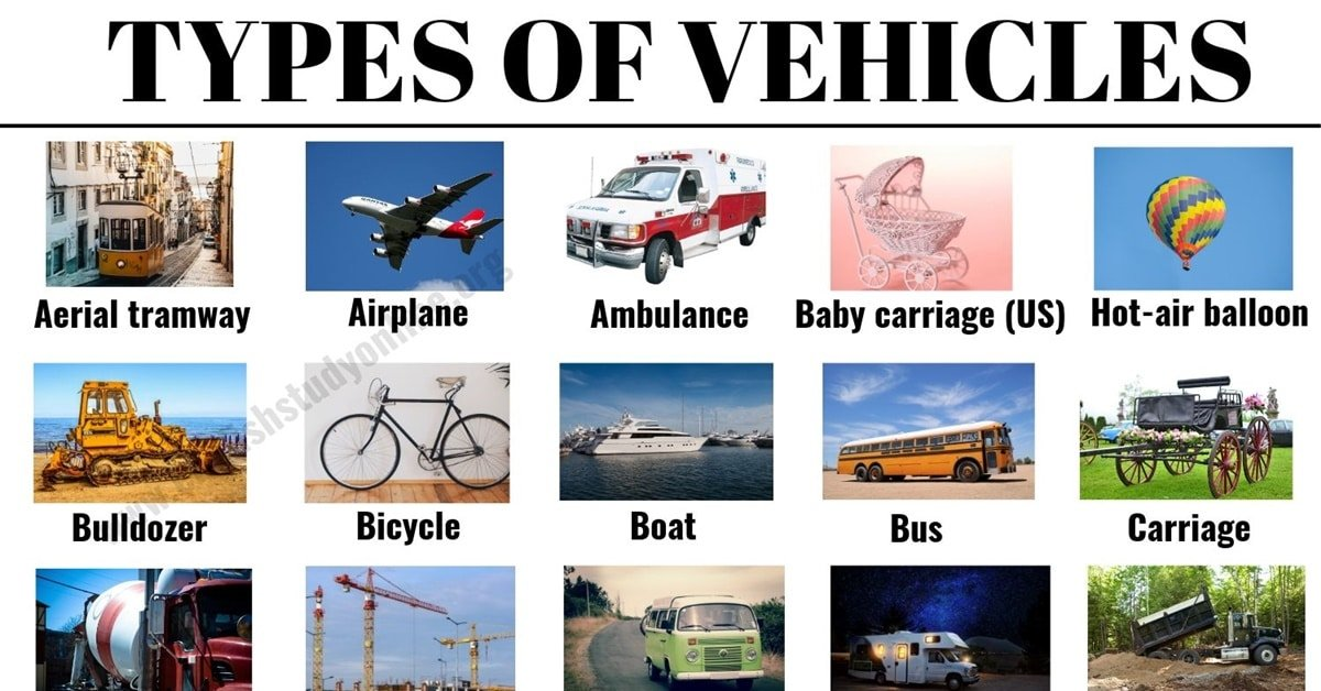 Types of Vehicles: List 30+ Vehicle Names with Examples and ESL Images 1