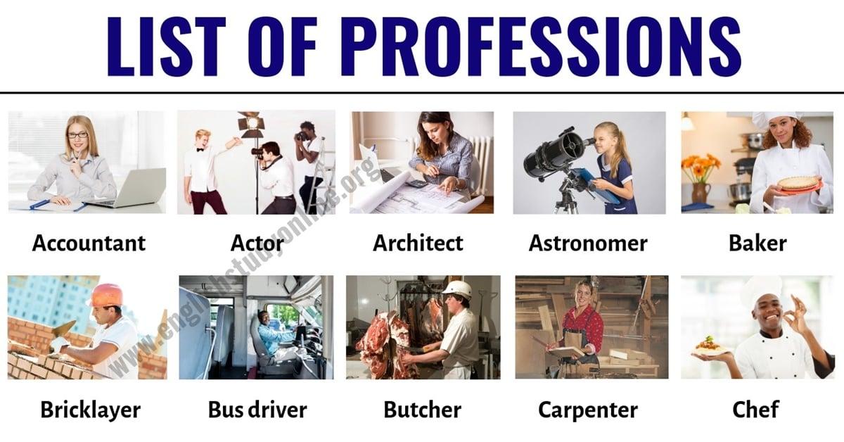 List of Jobs: List of 60 Popular Professions & Jobs in English 1